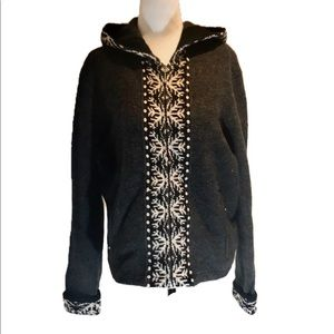 """WOOLRICH"" Grey Snowflake Hooded Zipped Sweater ."